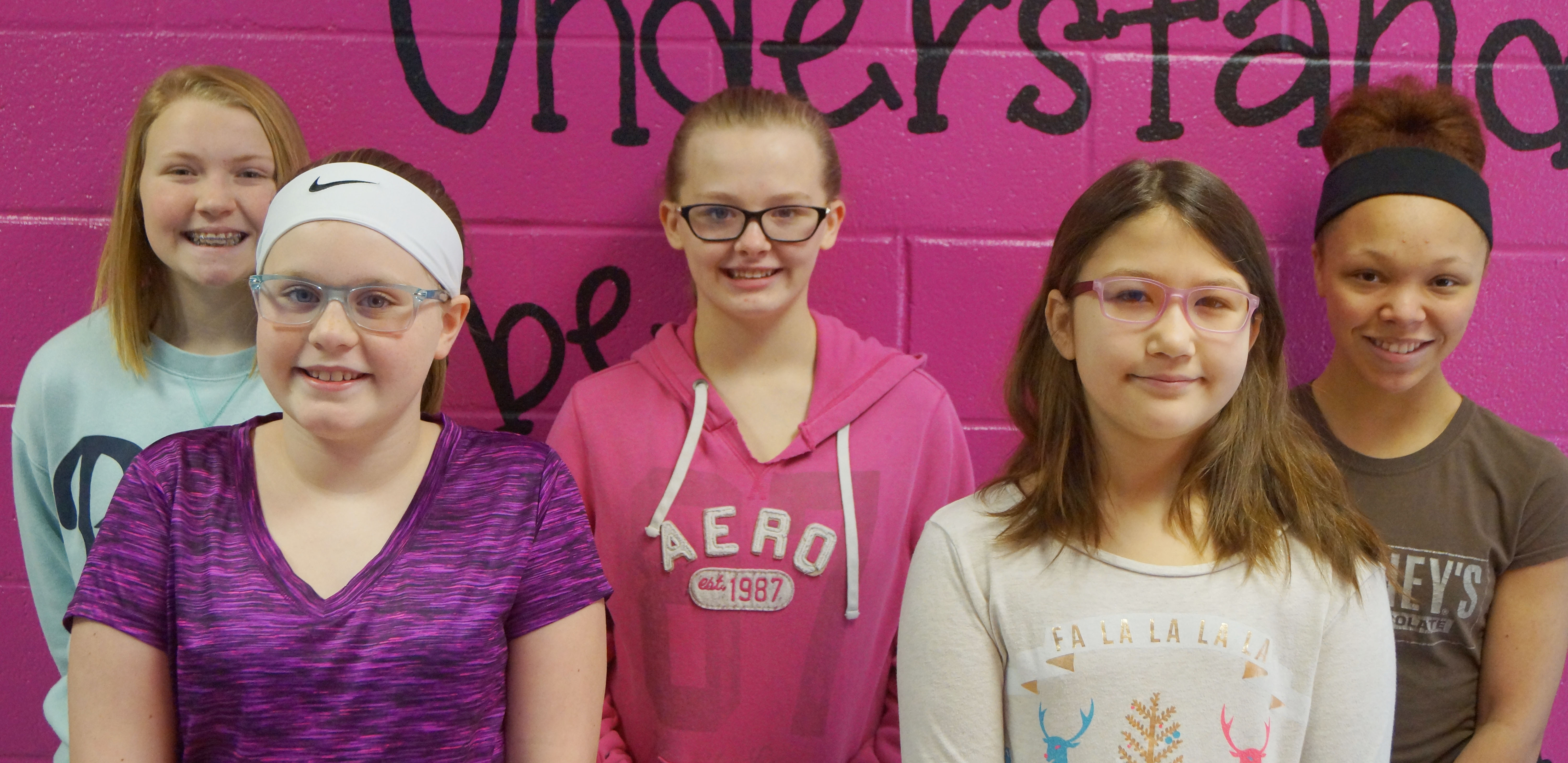 From left are eighth-grader Alanna Atwood, fifth-grader Piper Ritchie, sixth-grader Davanna Reardon, fourth-grader Kylee Sowders and seventh-grader Kitana Taylor.