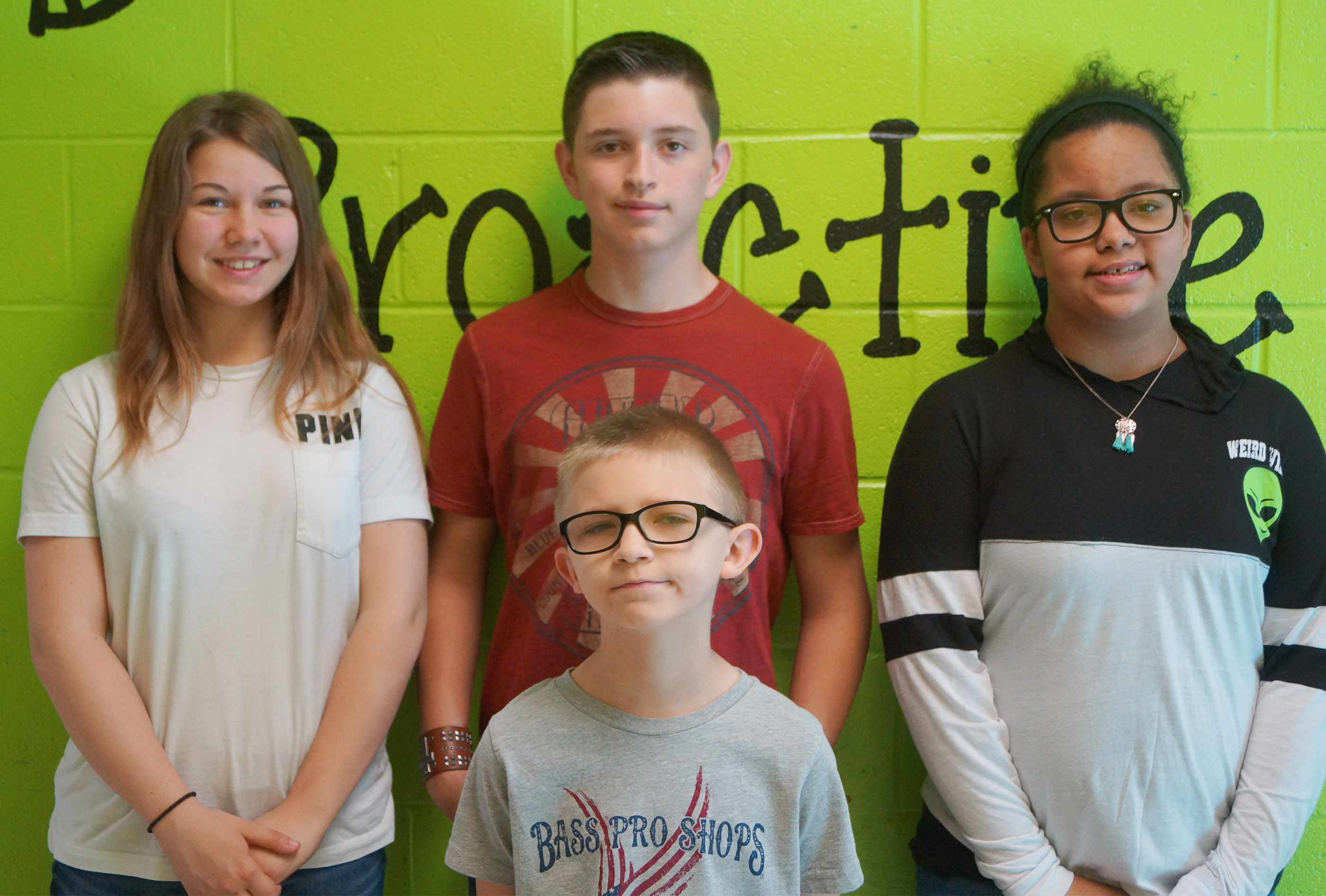 In front is fourth-grader Tyler Haulk. From left, back, are eighth-grader MaKala Hammett, seventh-grader Caden Cowherd and fifth-grader Kiara Graves. Absent from the photo is sixth-grader Tyler Booth.