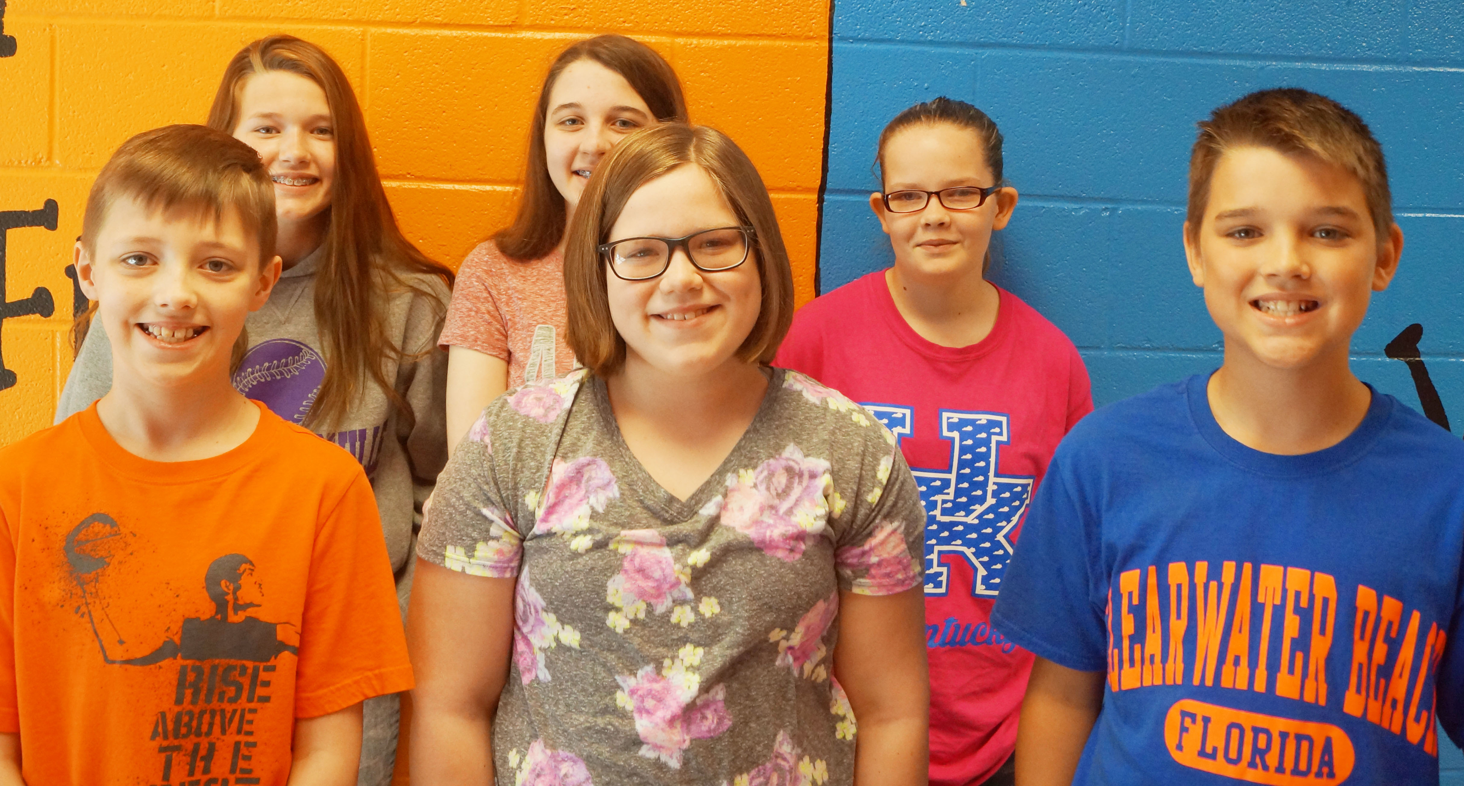 From left are fourth-grader Jaxon Garrett, sixth-grader BreAnna Humphress, eighth-grader Chloe Cox, fourth-grader Kaylyn Lawson, seventh-grader Xierra Underwood and fifth-grader Kaden Bloyd.