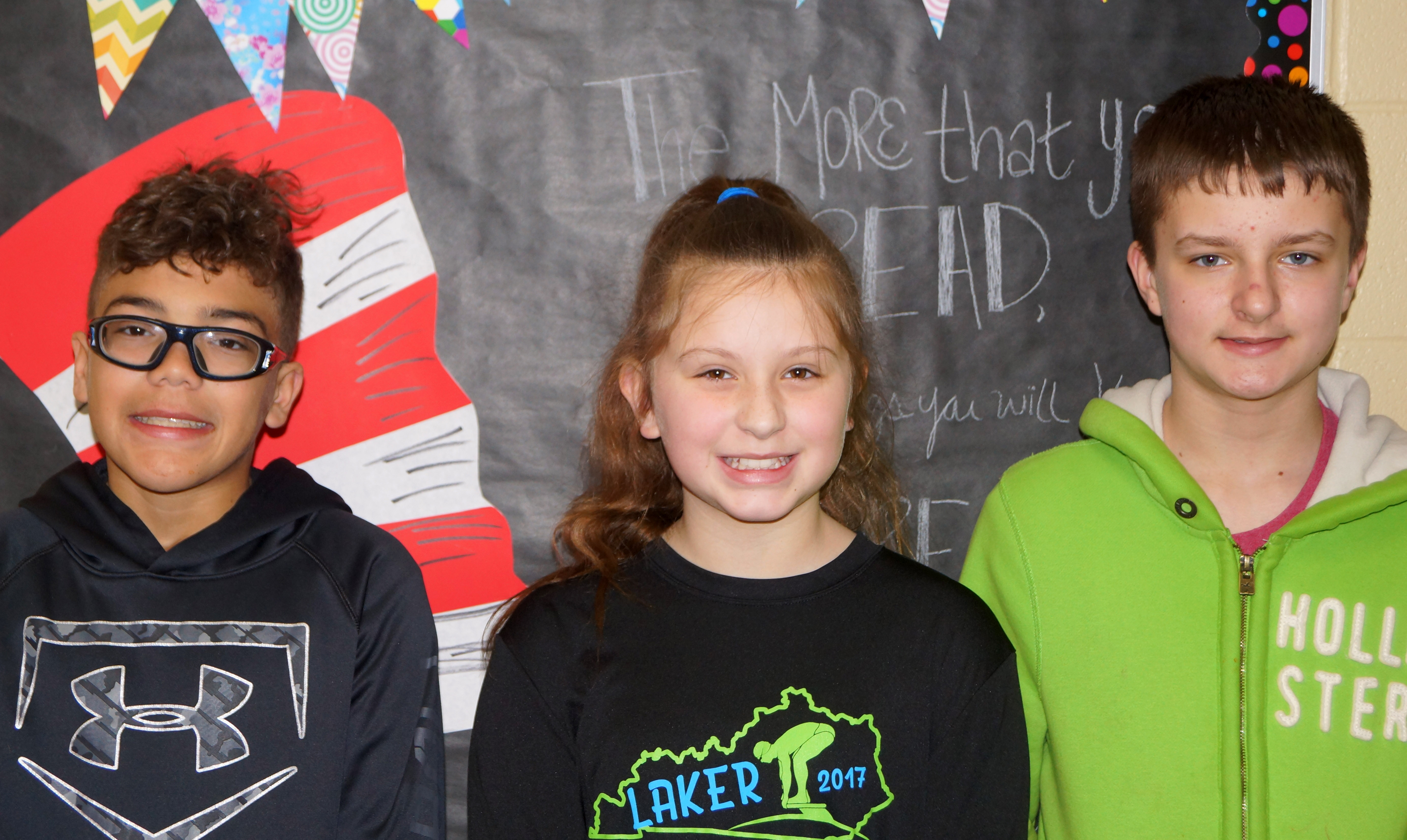 From left are eighth-grader Logan Phillips, sixth-grader Mollie Bailey and seventh-grader Tyler Booth.