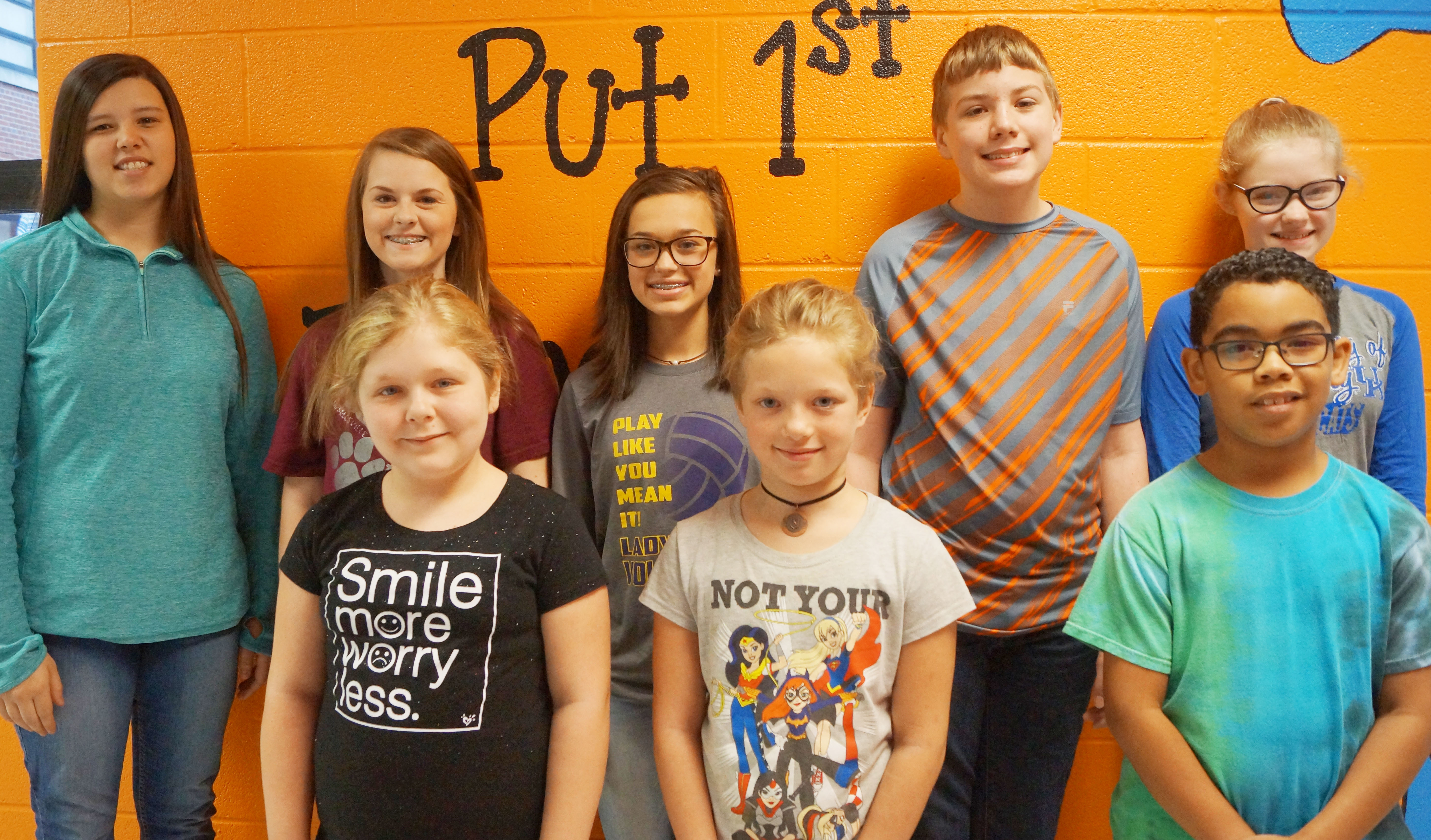 From left, front, are fifth-grader Alexis Sharp and fourth-graders Kyra Parker and Gabriel Noyola. Back, eighth-graders Hannah Keith and Taylor Knight, seventh-grader Tayler Thompson and sixth-graders Wesley Reynolds and Whitney Frashure.
