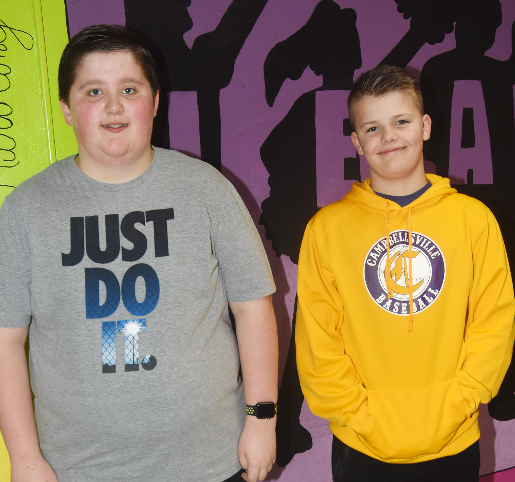 Campbellsville Middle School recently named its Leaders of the Week for the week of May 7. They are sixth-grader Luke McDonald, at left, and seventh-grader Konner Forbis.