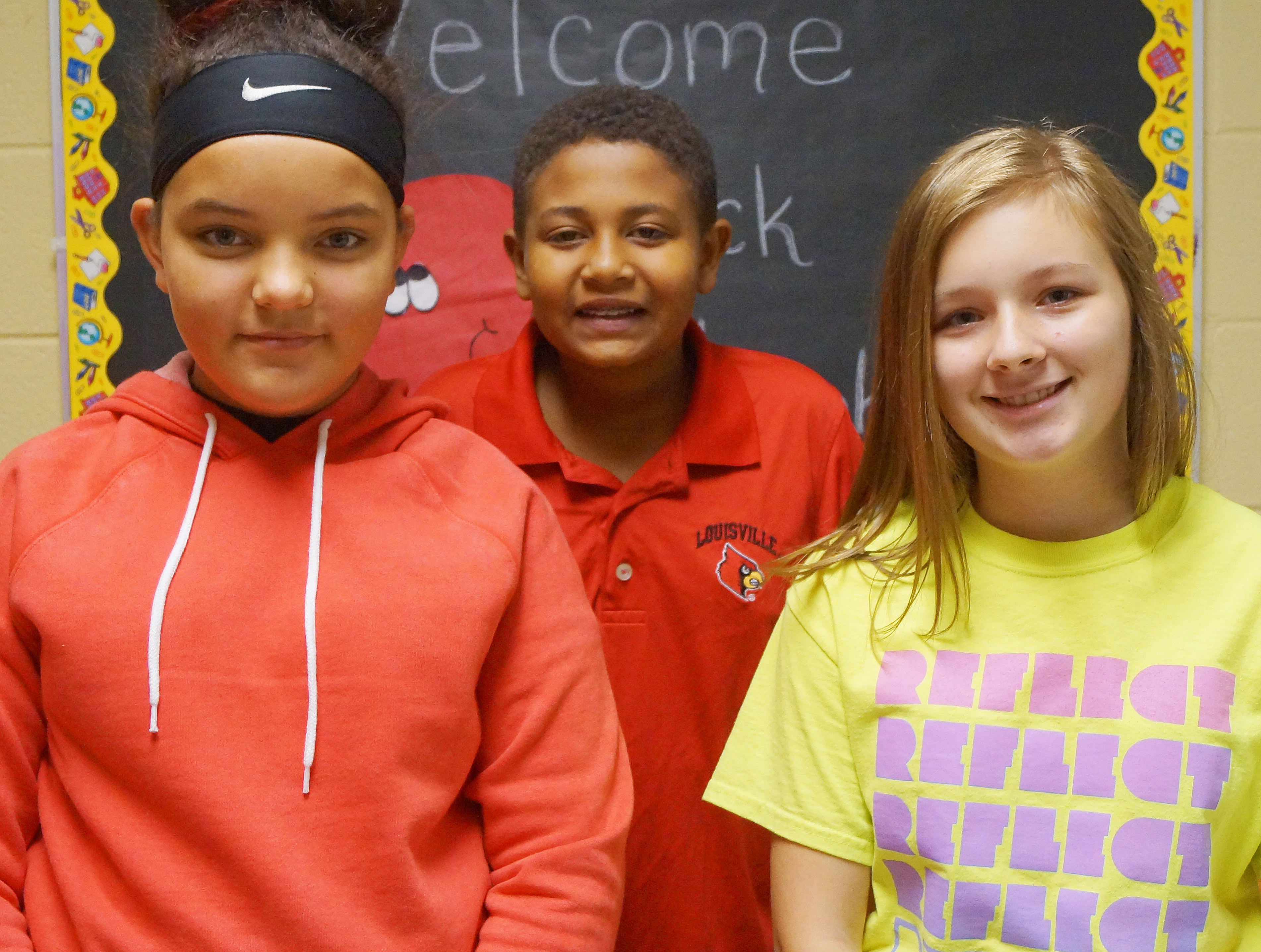 From left are sixth-grader Gracie Taylor, seventh-grader Ronin Smith and eighth-grader Serenity Ford.