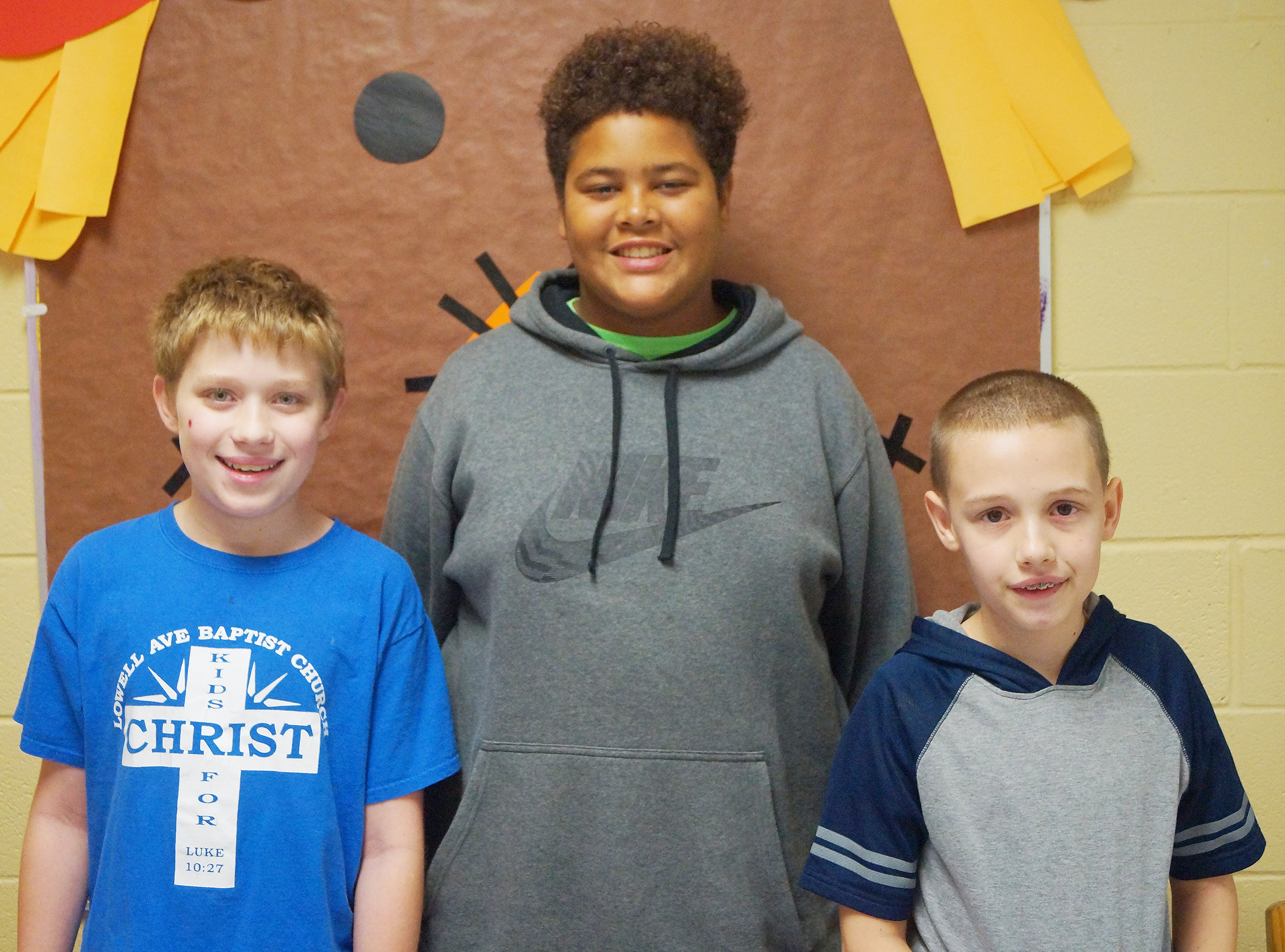 From left are sixth-grader Willie Nunn, eighth-grader Brandon Pittman and seventh-grader Brandon Nelson.