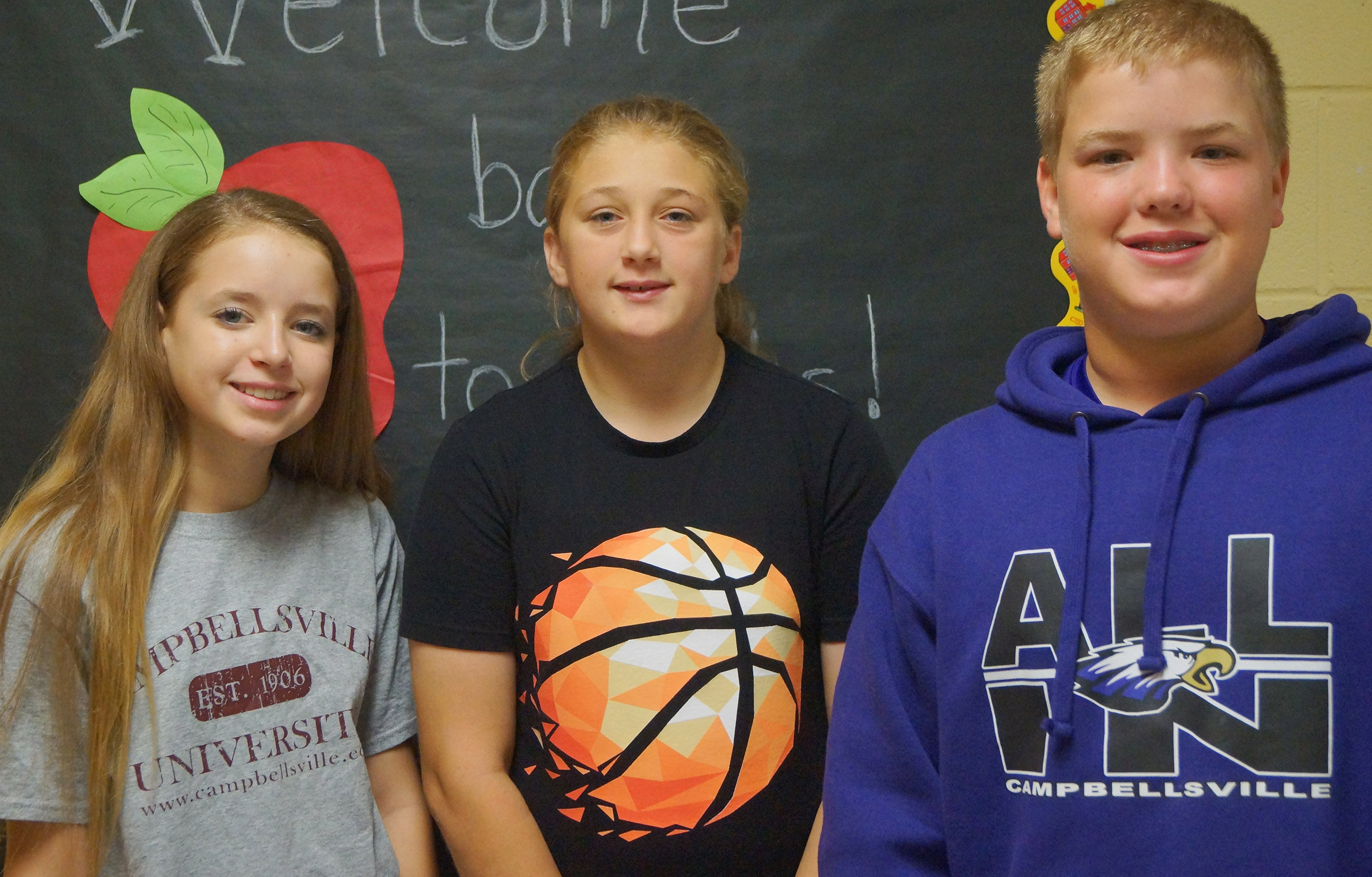 From left are eighth-grader Rylee Petett, seventh-grader Jasmine Daniels and sixth-grader Ryan Grubbs.