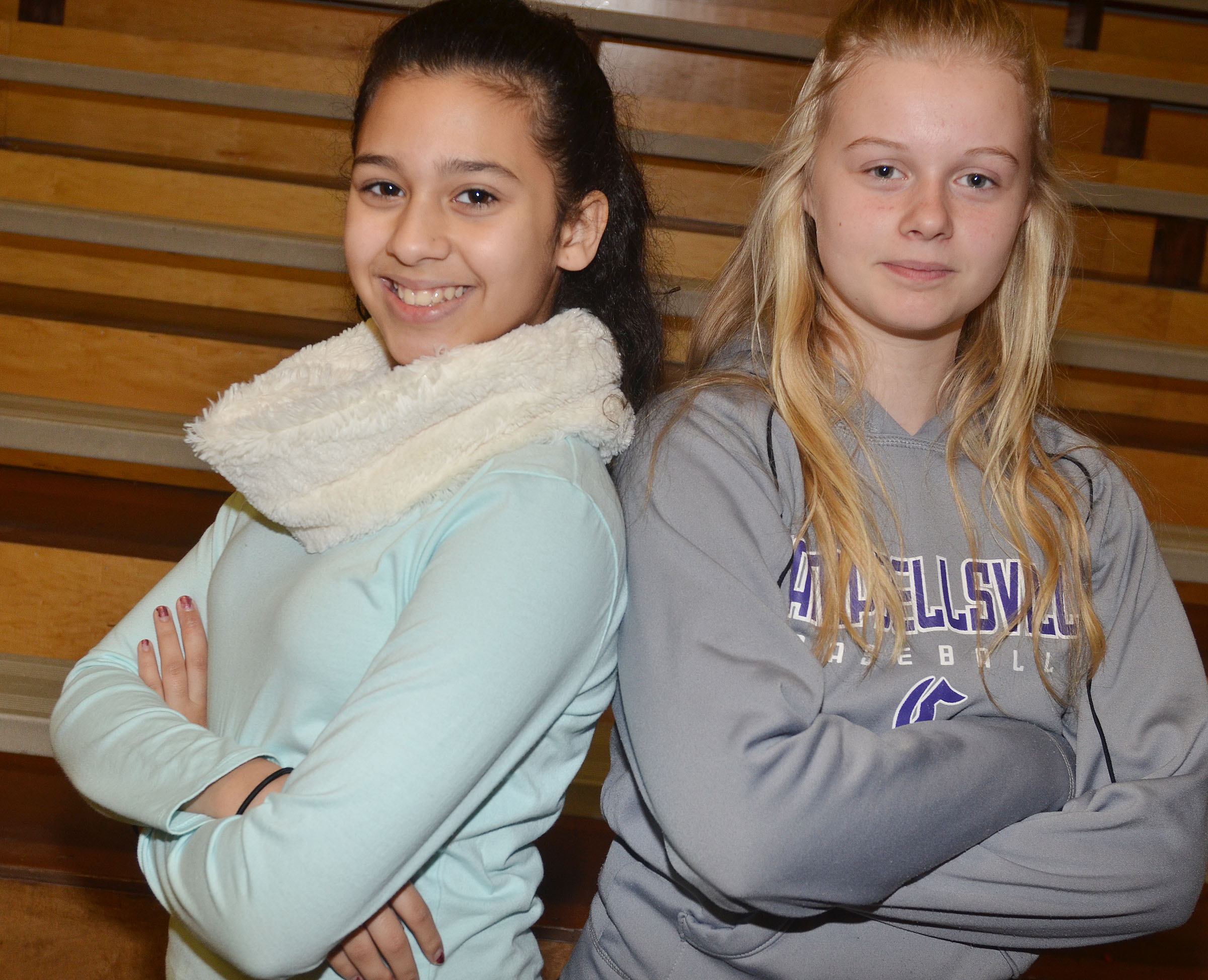 Campbellsville Middle School seventh-graders Bia Moura, at left, and Gabby Skaggs were recently chosen to participate in all-state junior high choir.