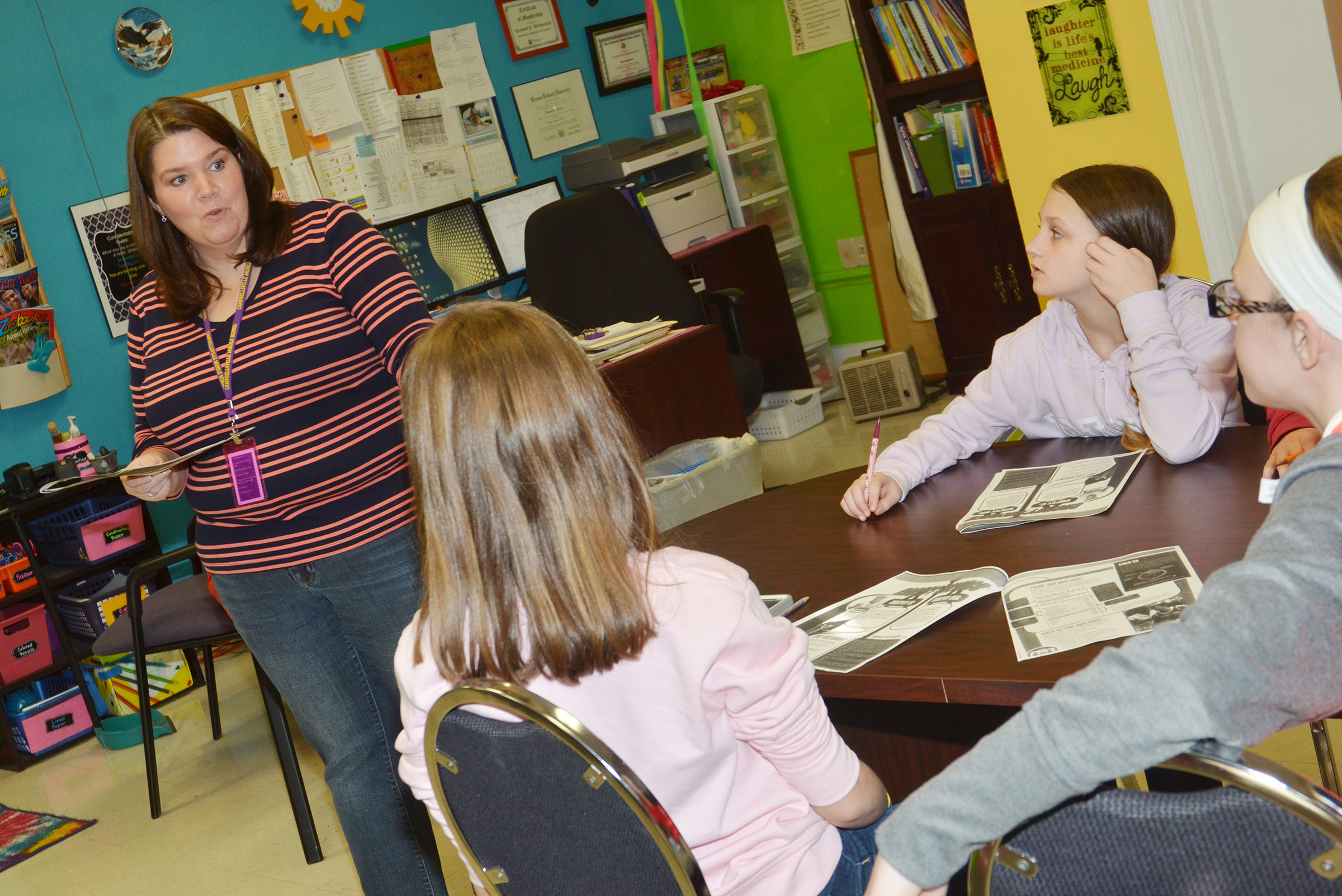 CMS Guidance Counselor Beth Wiedewitsch talks to sixth-grade students about how it's important that they have a healthy body image.