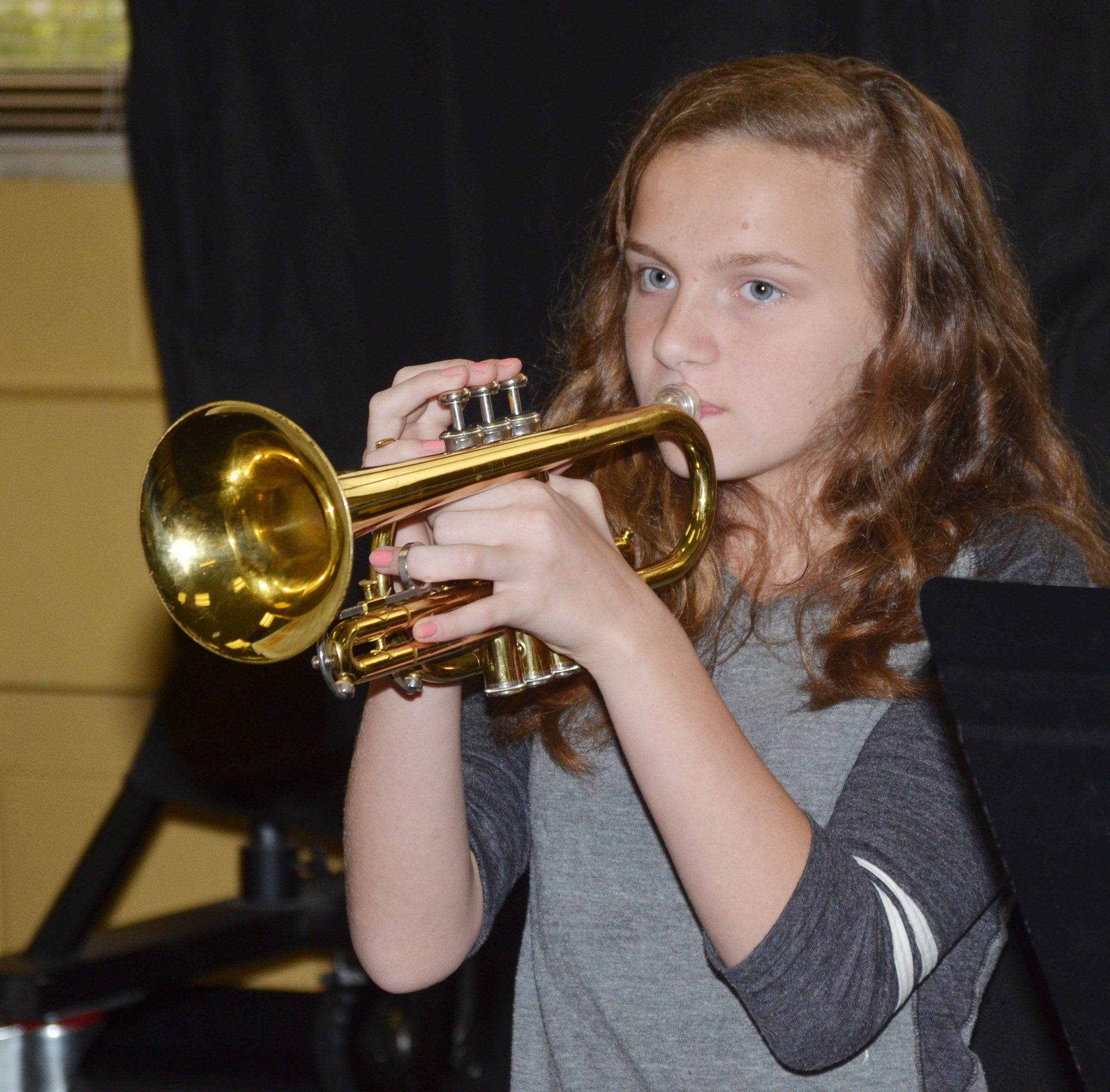 CMS seventh-grader Adrianna Sluder plays trumpet.