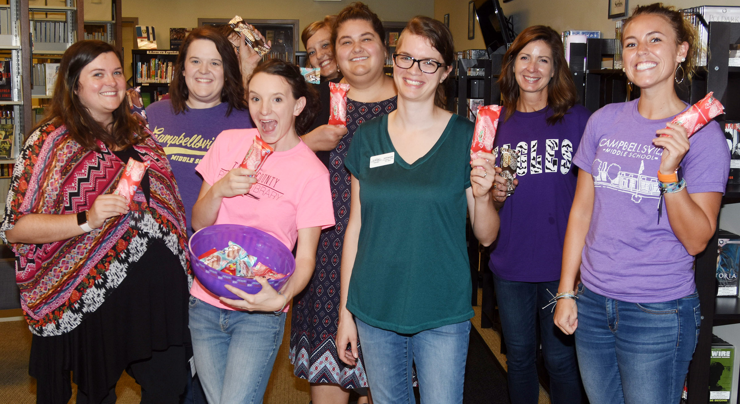 CMS teachers Paige Cook, Christi Kidwell and LeeAnn Grider deliver ice cream treats at Taylor County Public Library.