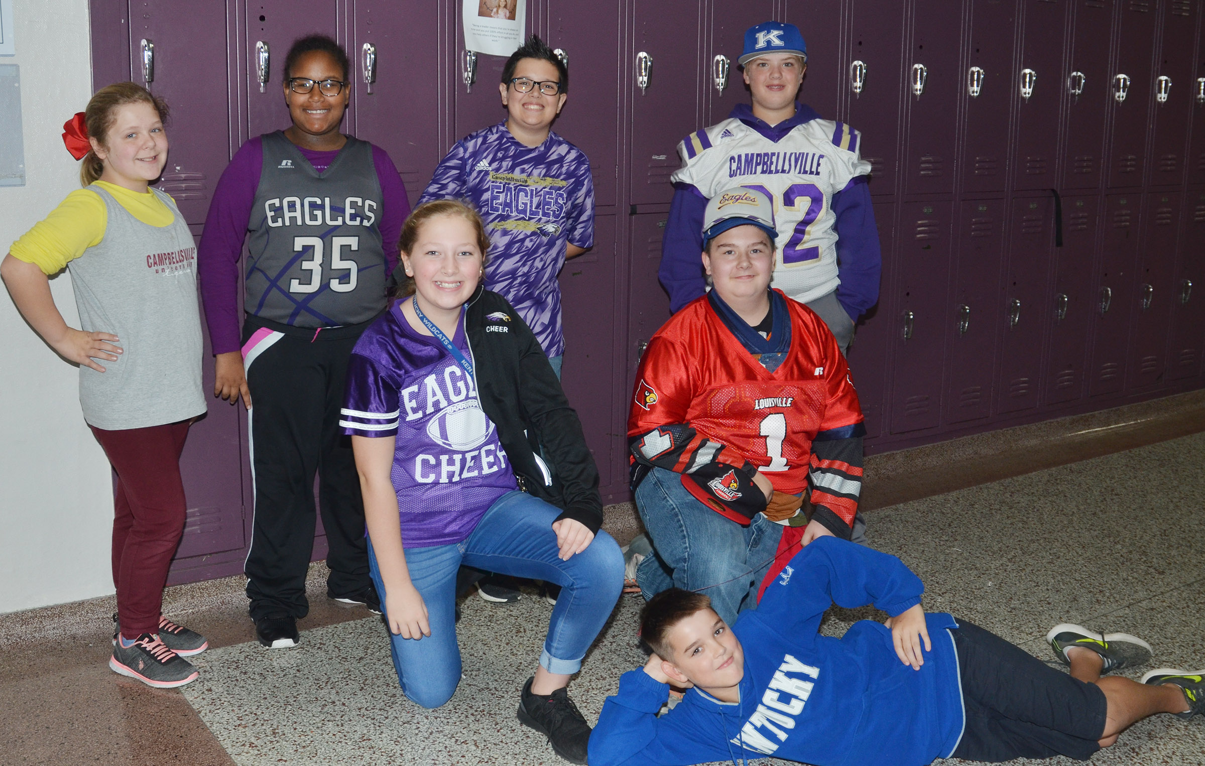 CMS students dress in their team apparel on Team Up Against Drugs Day.