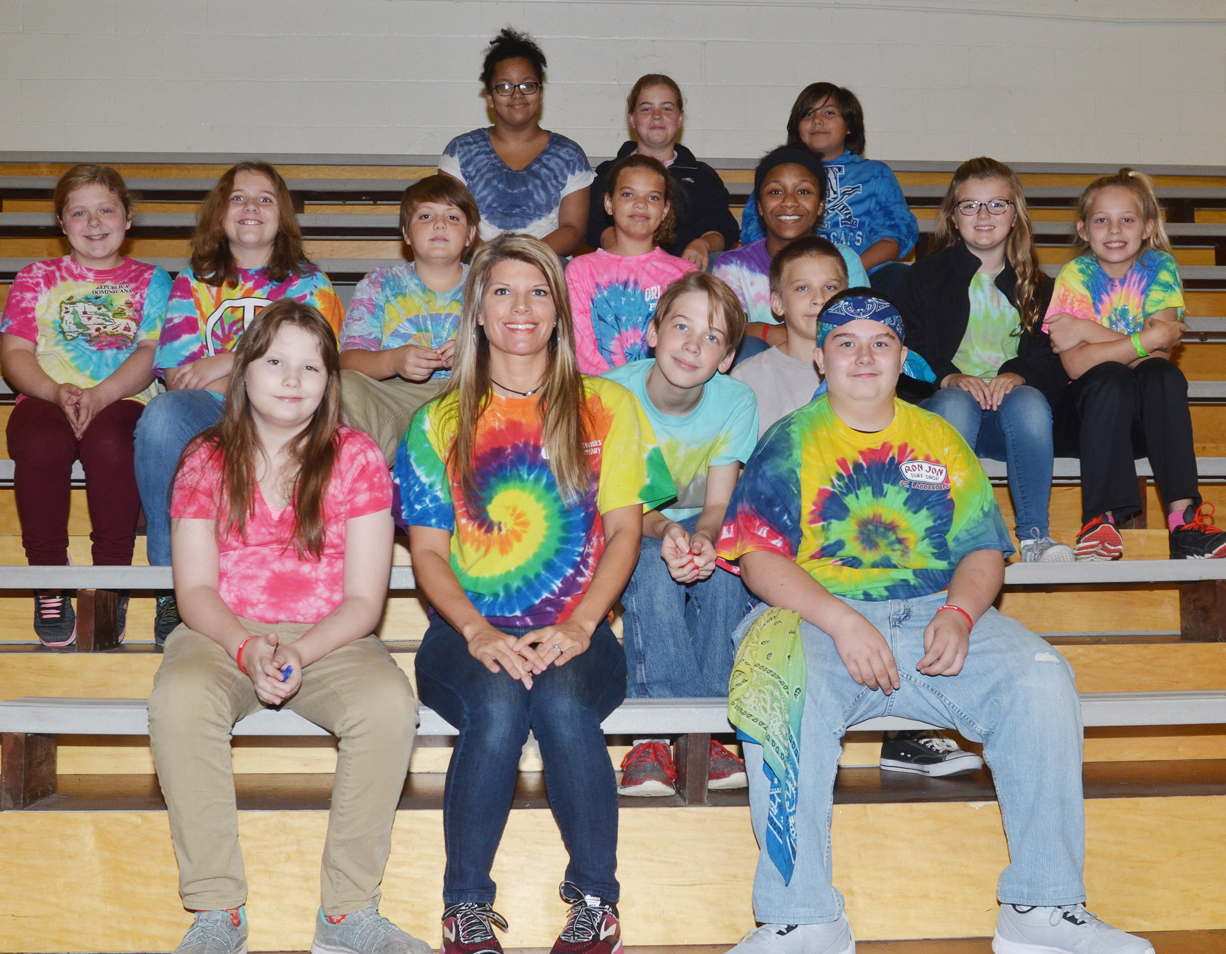 CMS students dress in tie-dye for Don't Get Tied Down with Drugs Day.