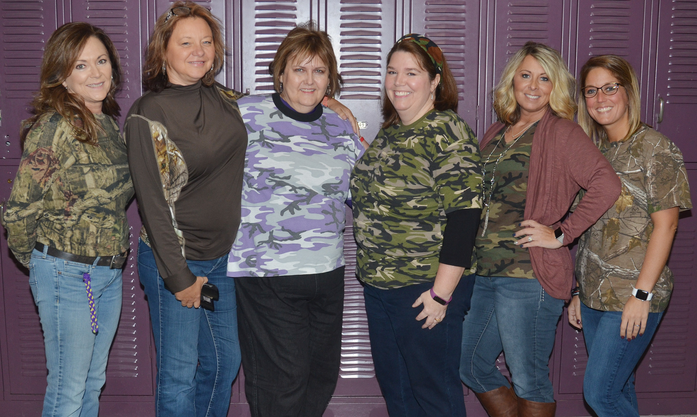 CMS teachers and administrators, from left, Melisa Morris, Sharon Harris, Debbie Edwards, Beth Wiedewitsch, Amanda Morris and Natalia Warren, dress in camouflage for Be All You Can Be: Drug Free Day.