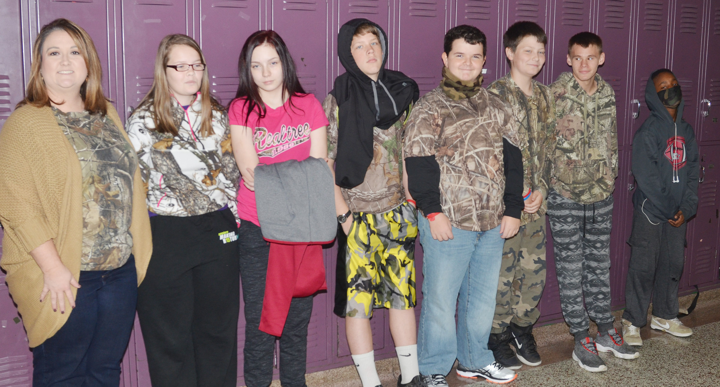 CMS students dress in camouflage for Be All You Can Be: Drug Free Day.