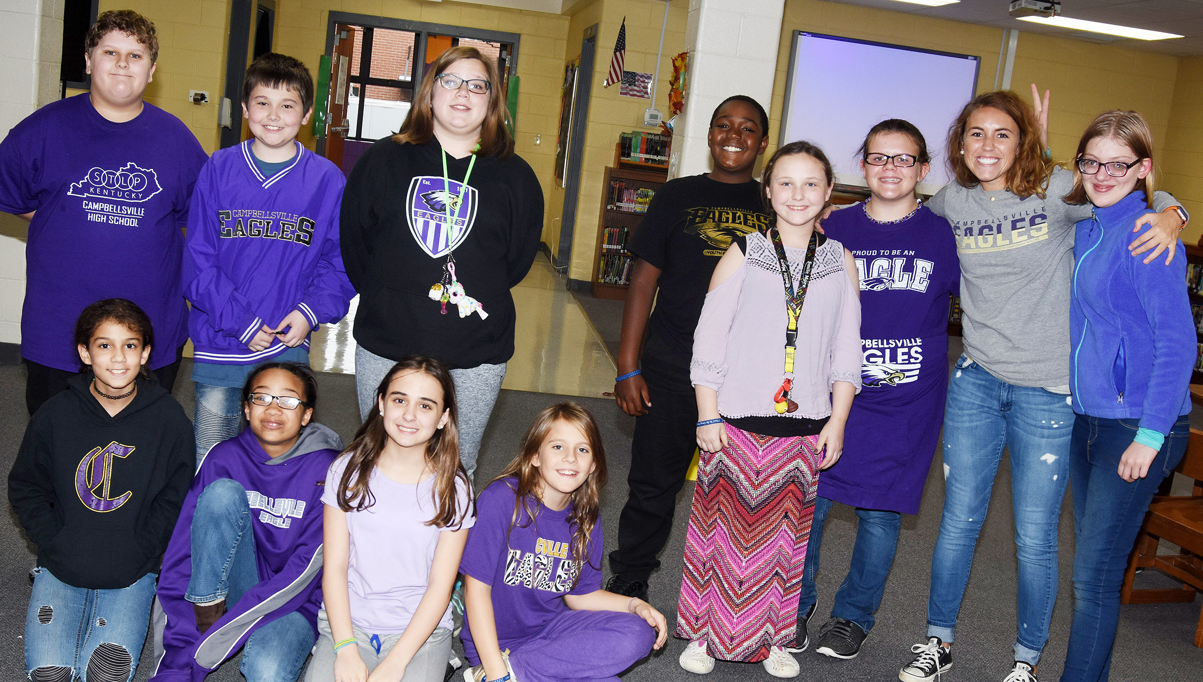 CMS students and staff members dress in purple and gold for Show Your Pride … Drug Free Day.