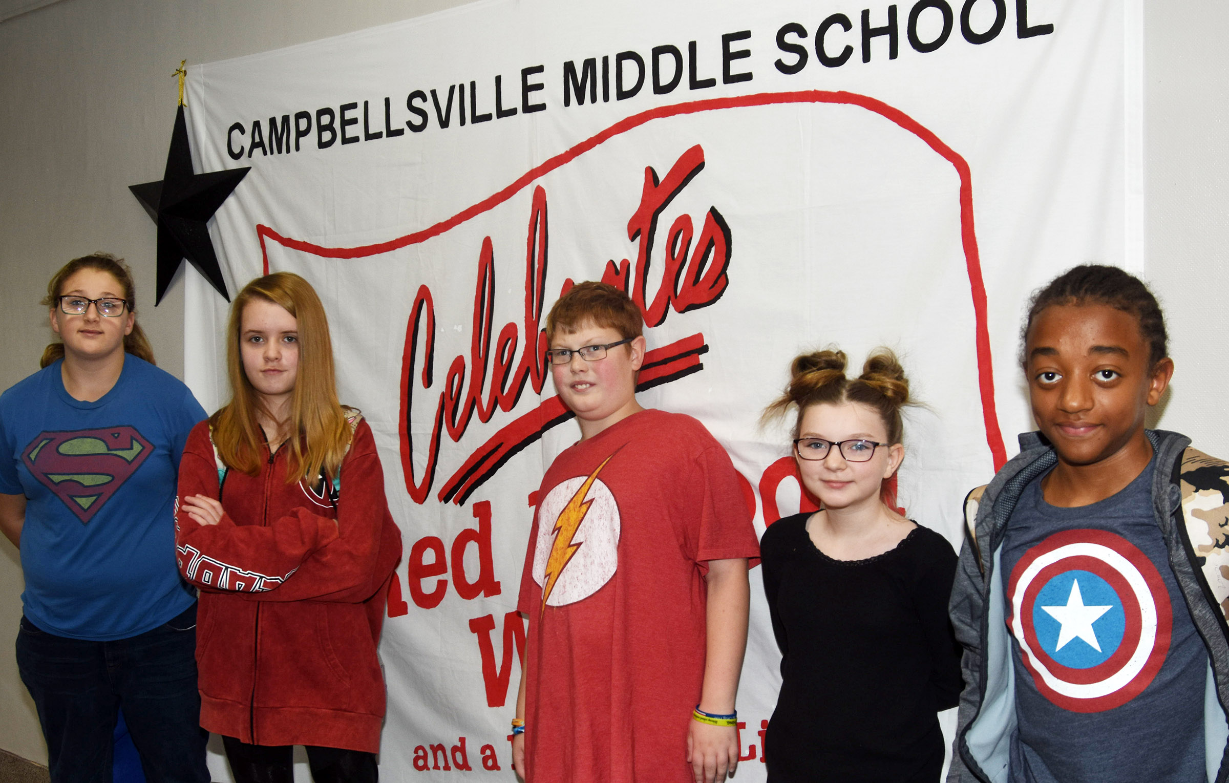 Dress-up day winners were, from left, eighth-grader Jasmine Daniels, seventh-grader Jaylie Moore, sixth-graders Aidan Phillips and Morgan Spears and eighth-grader Zamar Owens. Absent from the photo is seventh-grader Nathan McFarland.