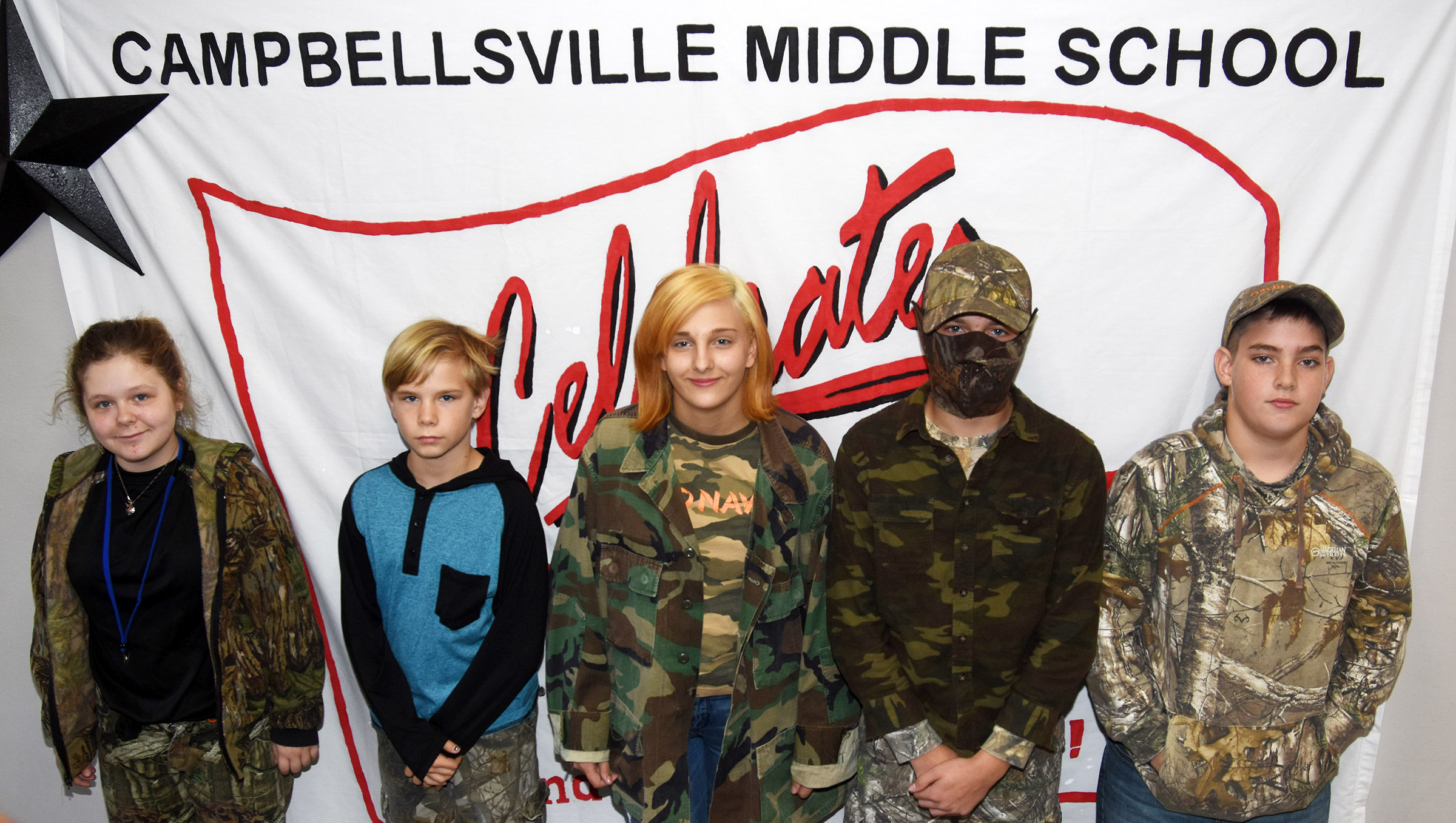 CMS Red Ribbon Week dress-up day winners for Tuesday, Oct. 23, are, from left, seventh-grader Alexis Sharp, sixth-grader Thomas Tungate, eighth-graders Glory Deckard and Tyler Booth and seventh-grader Ashton Davis.