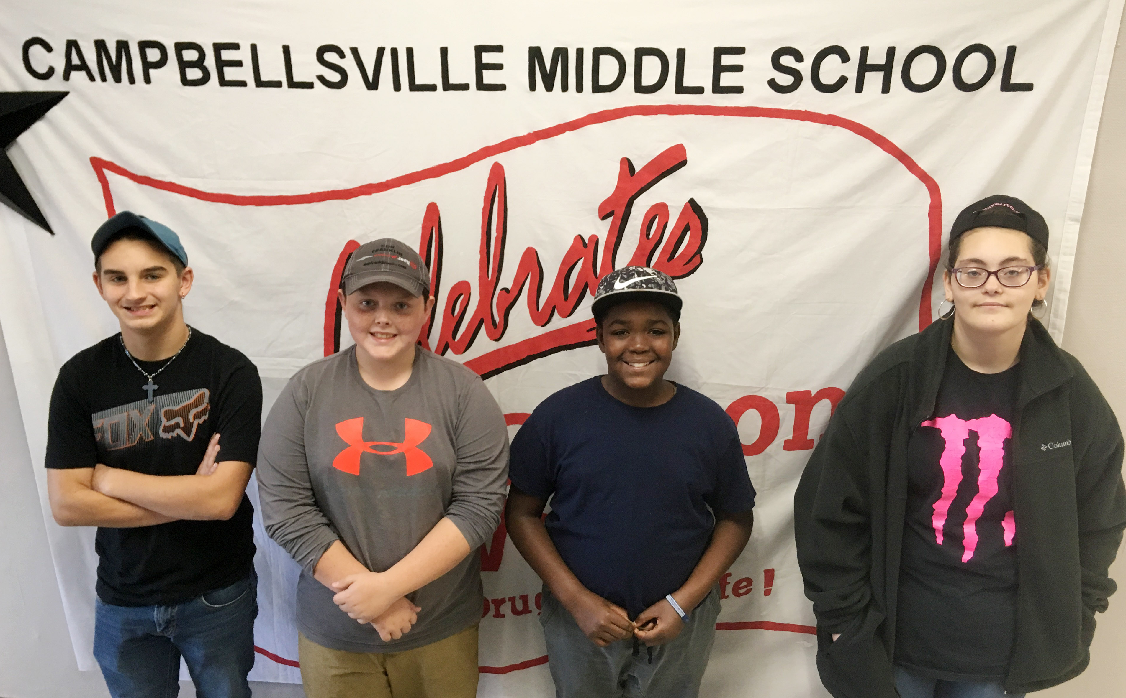 CMS Red Ribbon Week dress-up day winners for Wednesday, Oct. 24, are, from left, seventh-grader Jordan Gabehart, eighth-grader Aiden Humphress, sixth-grader Deason Smith and eighth-grader Jasper Wright.