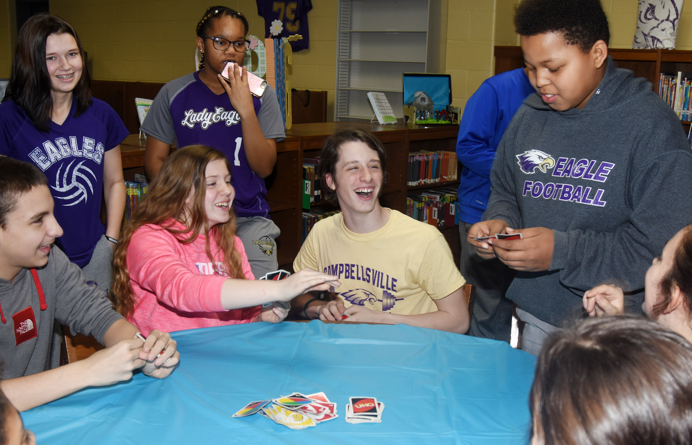 "CMS seventh-graders laugh as Keondre' Weathers declares ""Uno."""