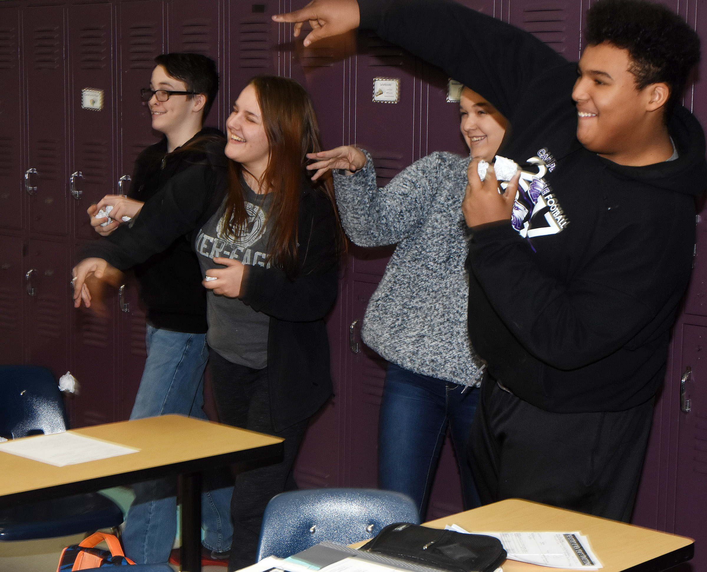 CMS eighth-graders take on their classmates in gentlemen warfare with paper wads. From left are Sean Mings, Brooklyn Davis, Kailey Lozano and J.T. Washington.