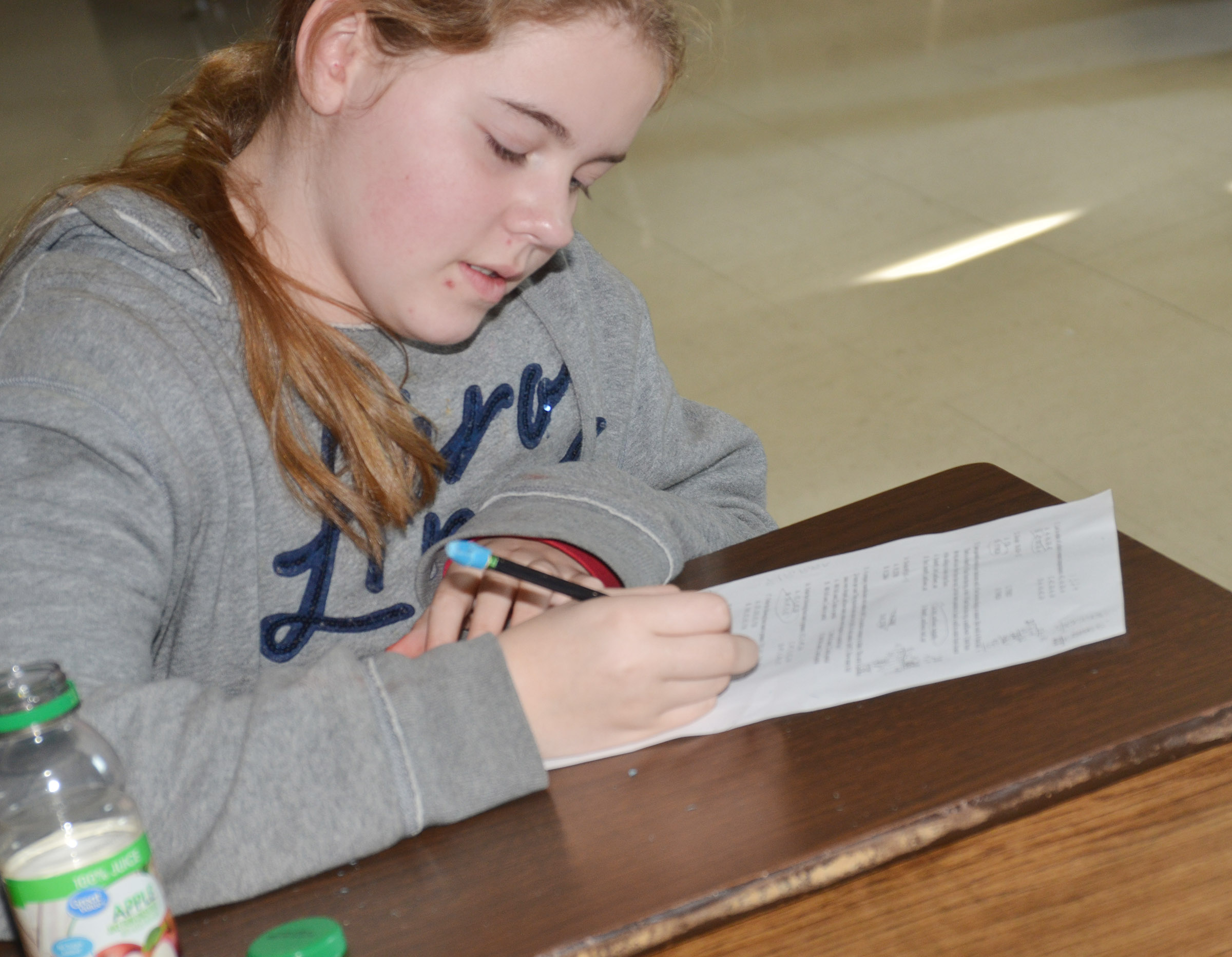 CMS sixth-grader Layla Steen completes an assignment.