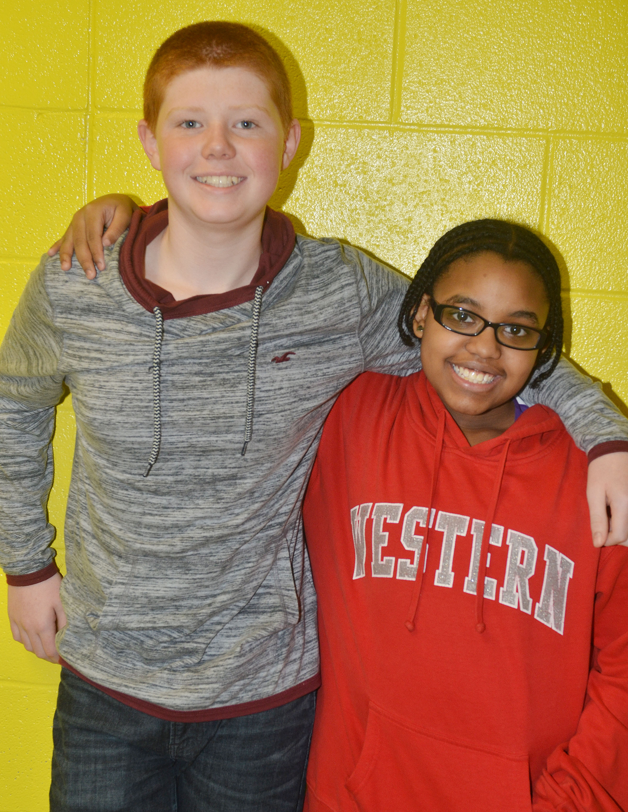 Friendliest students are Collin Harris and Jasmine Mitchell.