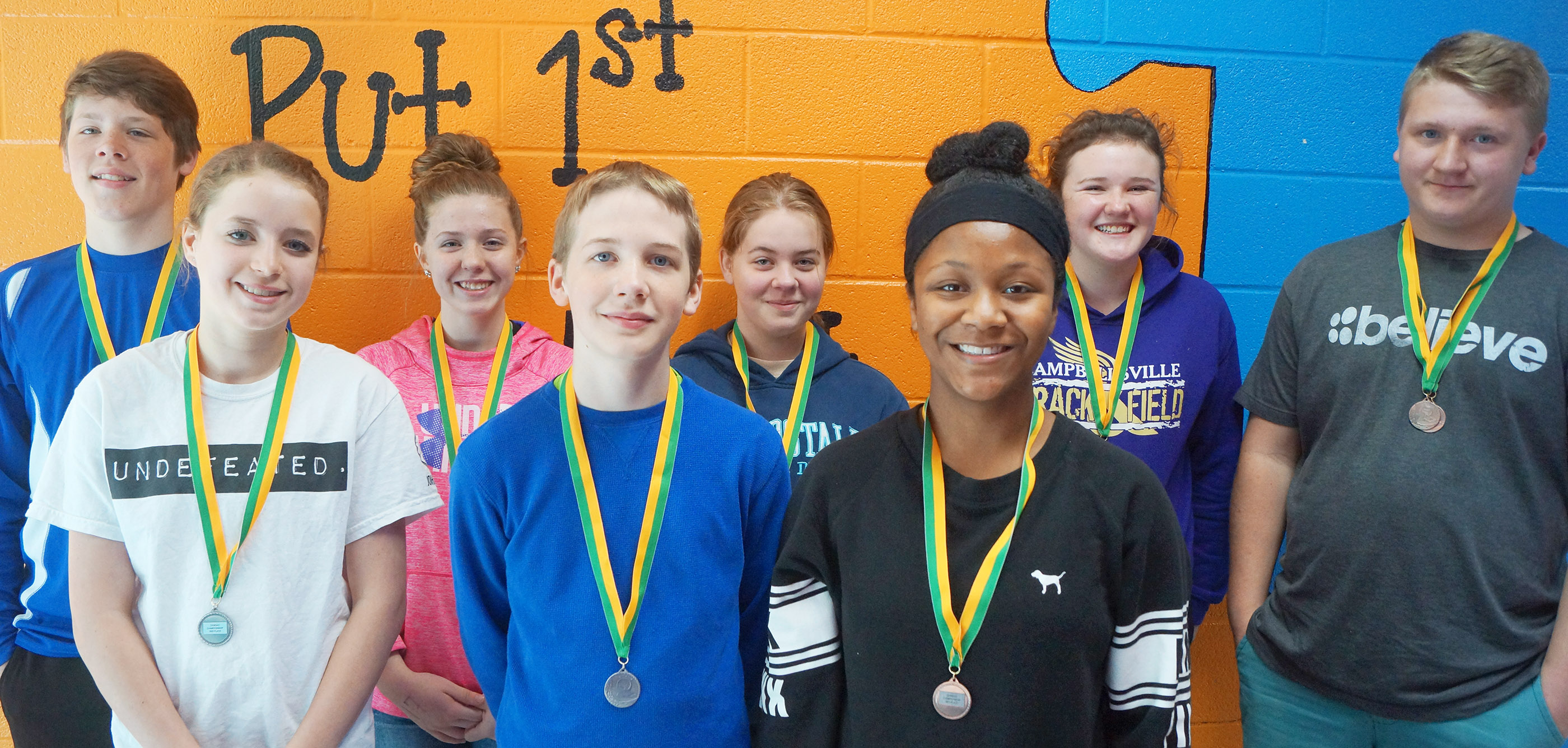 CMS track team members who medaled at the Central Kentucky Middle School Athletic Conference meet on Monday, April 30, are, from left, front, eighth-grader Rylee Petett and sixth-graders Thomas Lucas and Camilla Taylor. Back, eighth-grader Josh Lucas, seventh-grader Alysa Howard, sixth-grader Layla Steen, eighth-grader Abby Brisko and seventh-grader Levi Dicken.