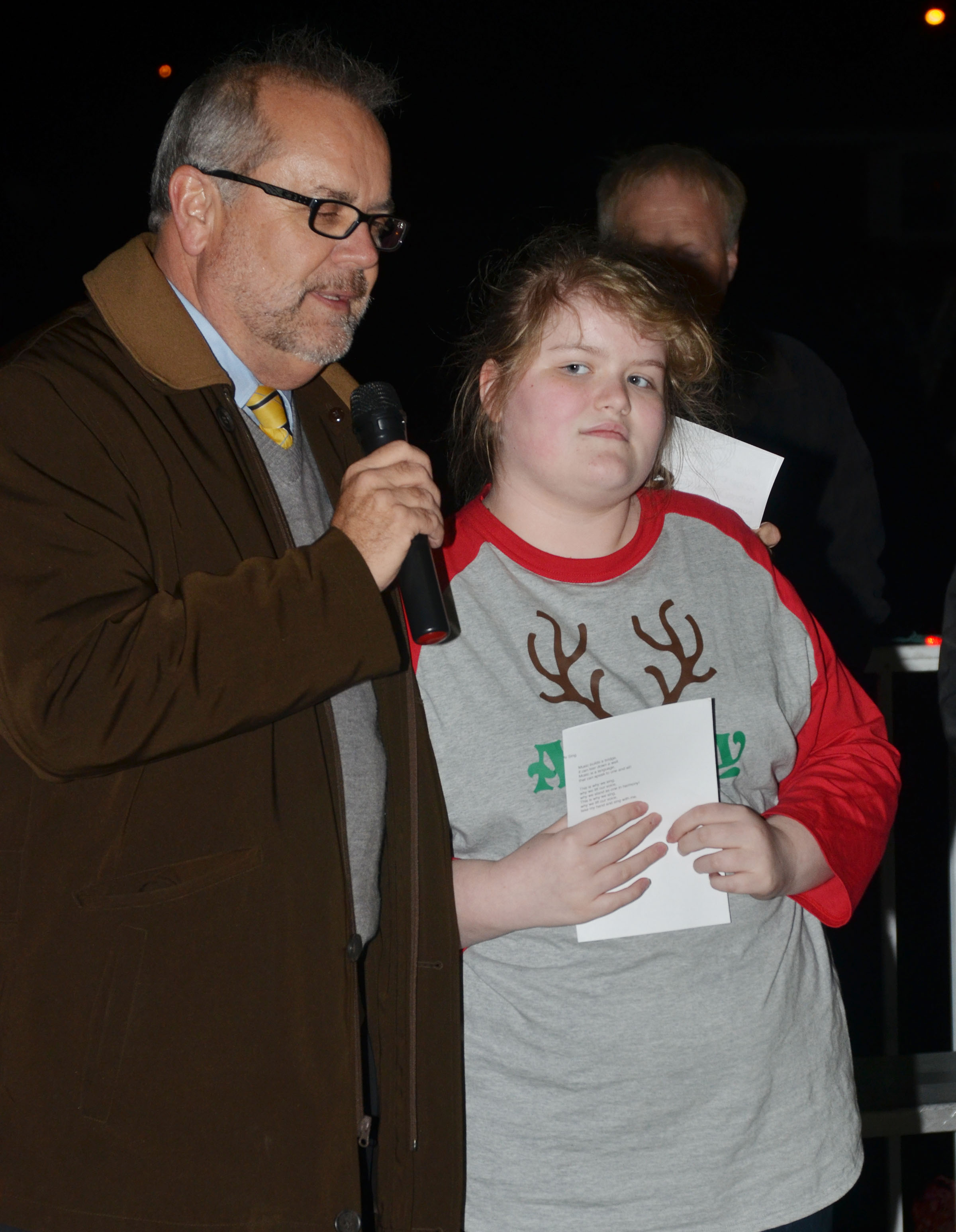 CMS sixth-grader Aubrey Young, the granddaughter of Campbellsville Mayor Tony Young, turned on this year's Christmas lights in Miller Park.