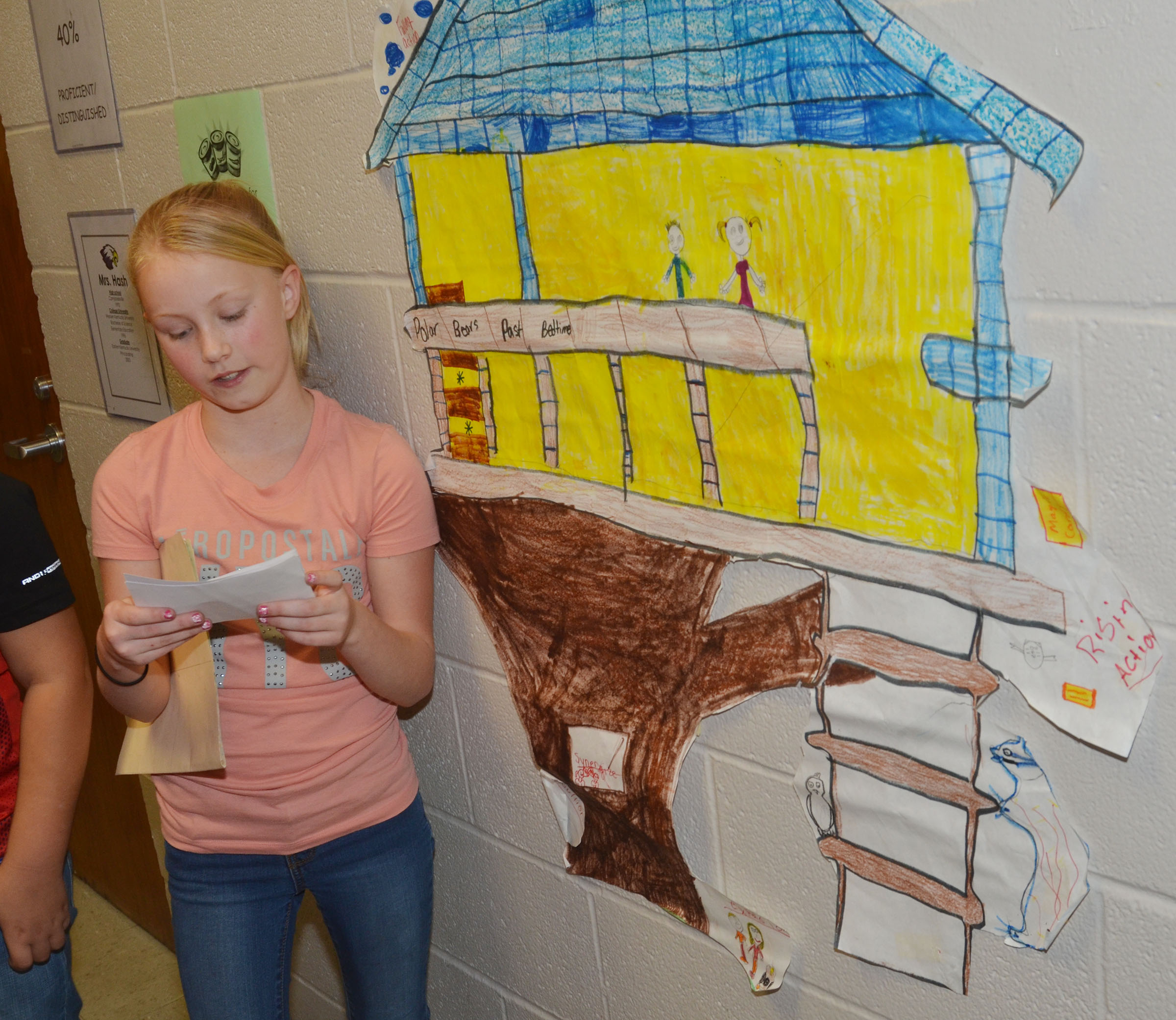 CMS fifth-graders Brianna Atwood presents her group's treehouse project to fourth-graders.