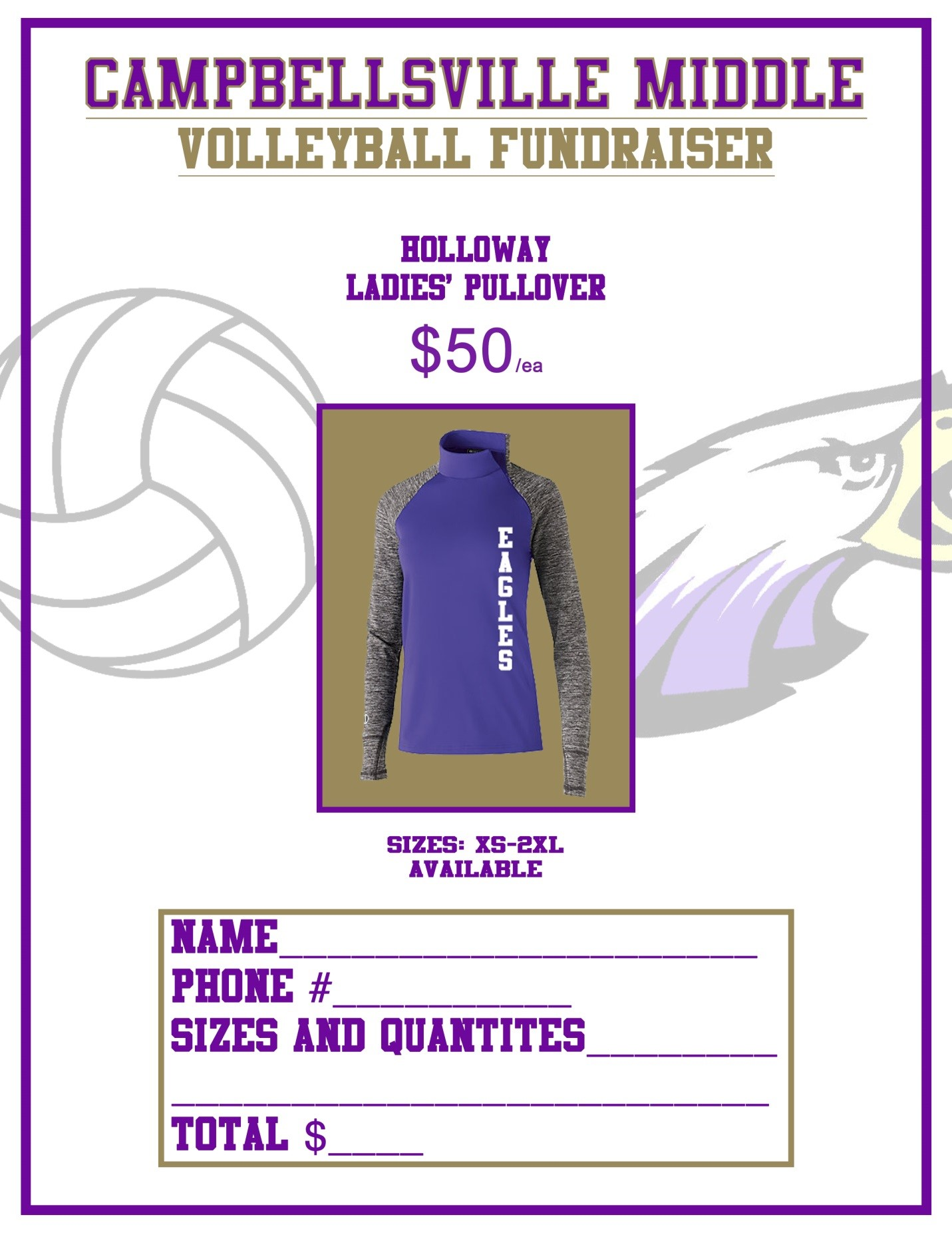 CMS volleyball team selling pullovers