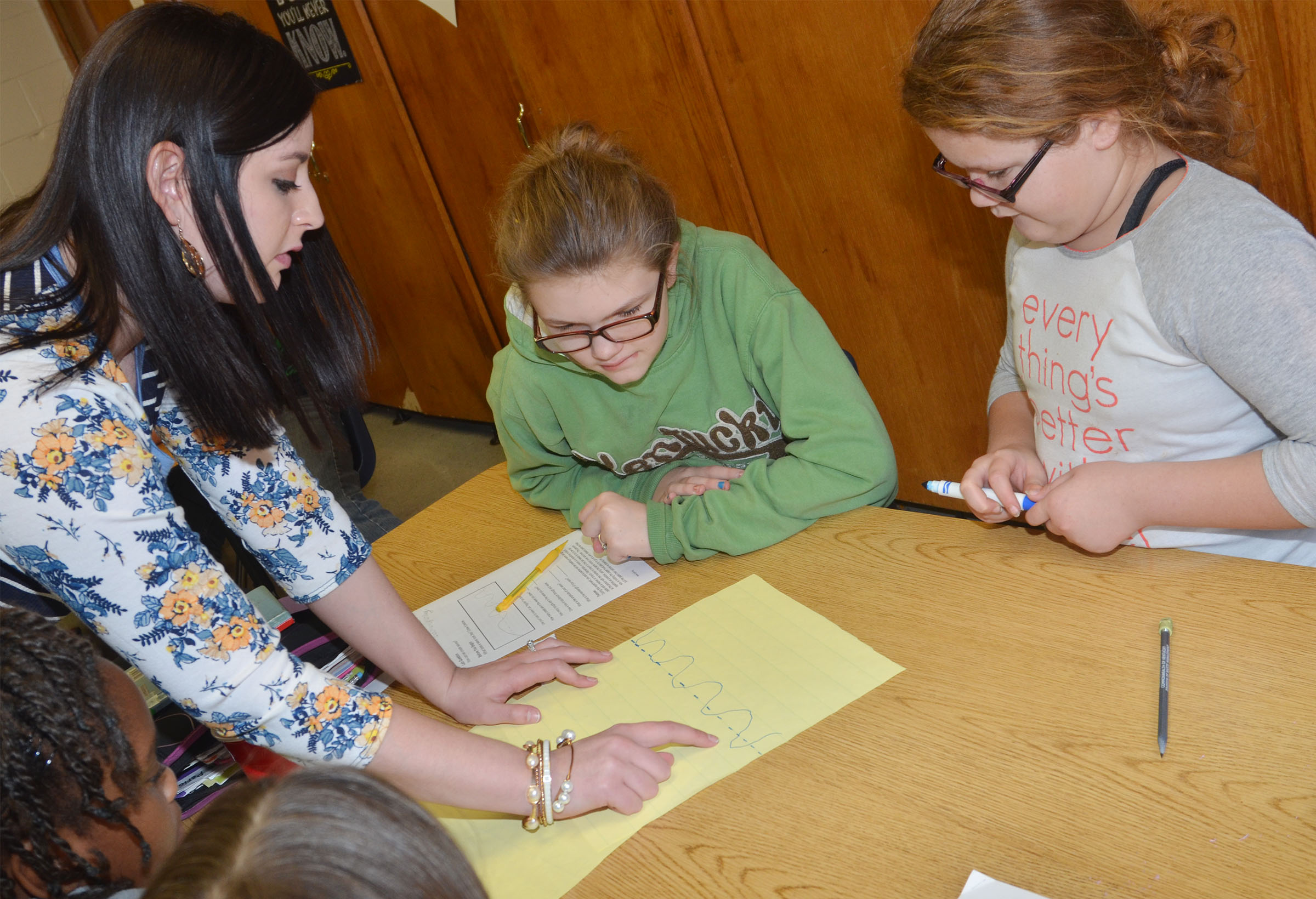CMS fourth-grade teacher Samantha Coomer helps students Autumn Jones, at left, and Carmen Gurley calculate the amplitude of the wave they drew.