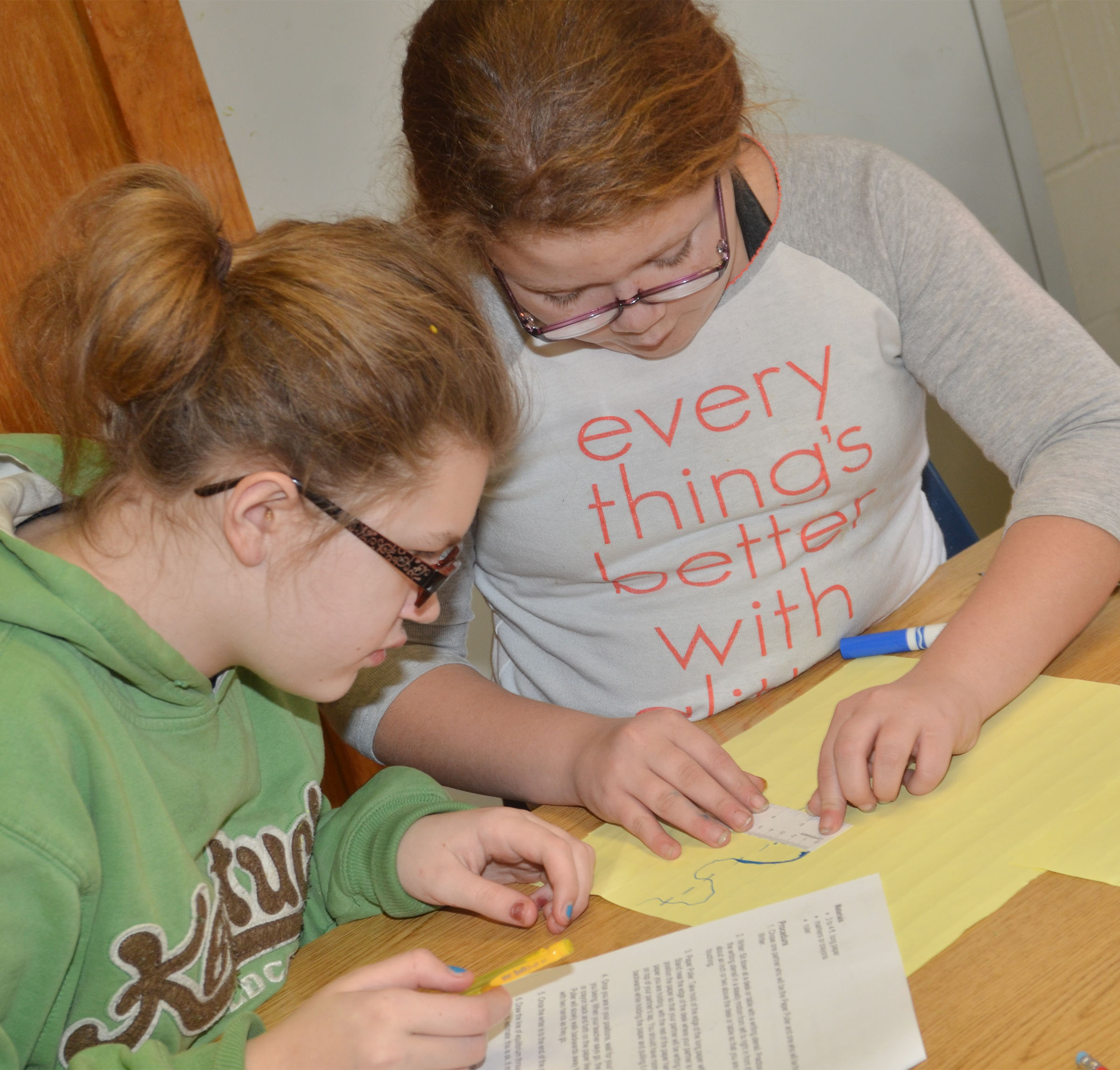 CMS fourth-graders Autumn Jones, at left, and Carmen Gurley calculate the amplitude of their wave.