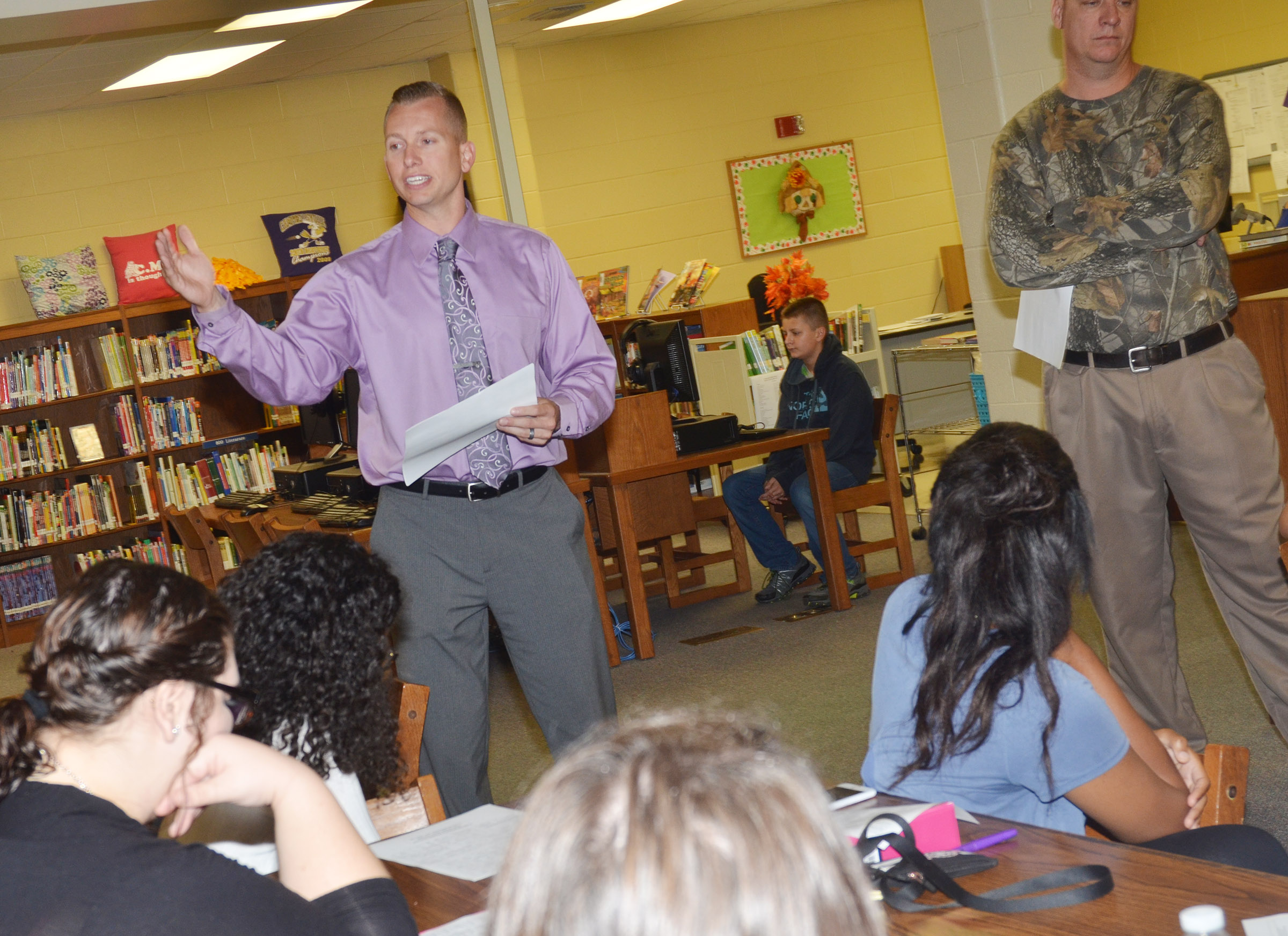 CMS Principal Zach Lewis talks to Campbellsville University education students about what it's like to be a teacher.