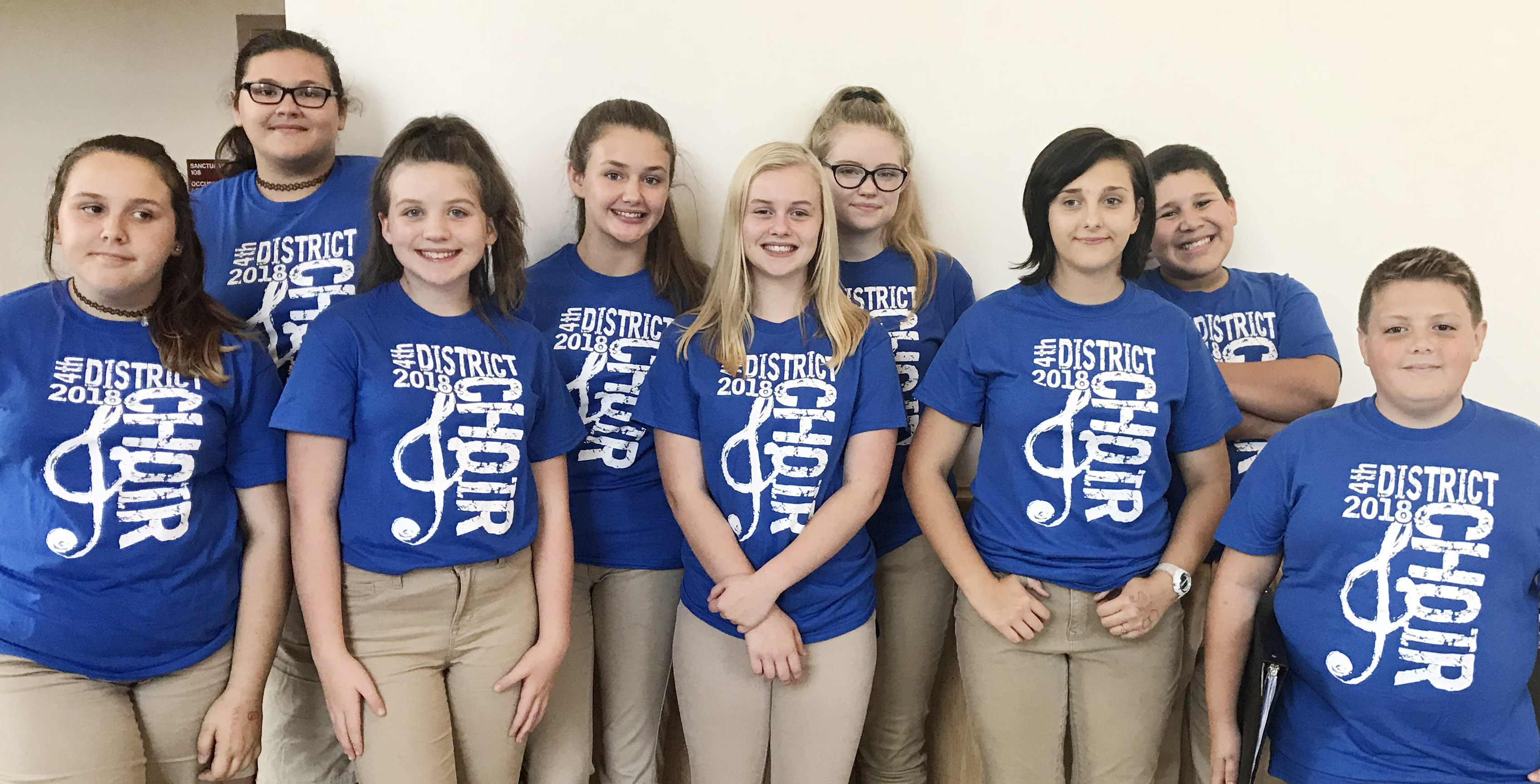 From left, CMS eighth-grader Kadence Houk, seventh-grader Allison Sumners, eighth-graders Mikaela Scharbrough and Haylee Allen, CHS freshman Gabby Skaggs, eighth-graders Whitney Frashure, Glory Deckard and Zeke Bell and seventh-grader Nathan Ray participate in the Junior High Choir at the Fourth District Choral Festival. Absent from the photo is freshman Abby Turner.