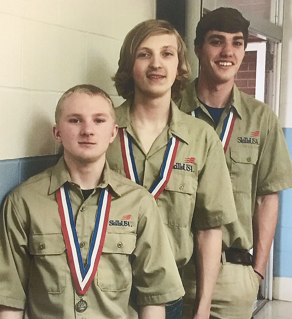 CHS senior Zack Bottoms, in back, competed at the Kentucky SkillsUSA regional competition on Saturday, March 4, at the Kentucky Tech-Pulaski County Area Technology Center in Somerset. He and teammates Hunter Curry, in front, and Hagan Hall, who attend classes with Bottoms at the Green County Area Technology Center, received second place in the welding fabrication contest.