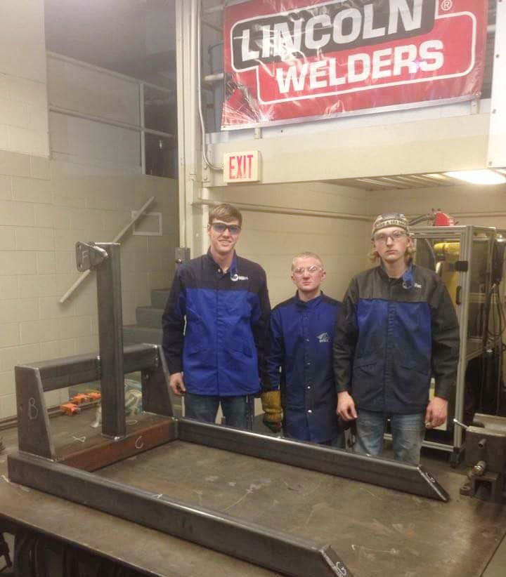 CHS senior Zack Bottoms, at left, competed at the Kentucky SkillsUSA regional competition on Saturday, March 4, at the Kentucky Tech-Pulaski County Area Technology Center in Somerset. He and teammates Hunter Curry, center, and Hagan Hall, who attend classes with Bottoms at the Green County Area Technology Center, received second place in the welding fabrication contest.